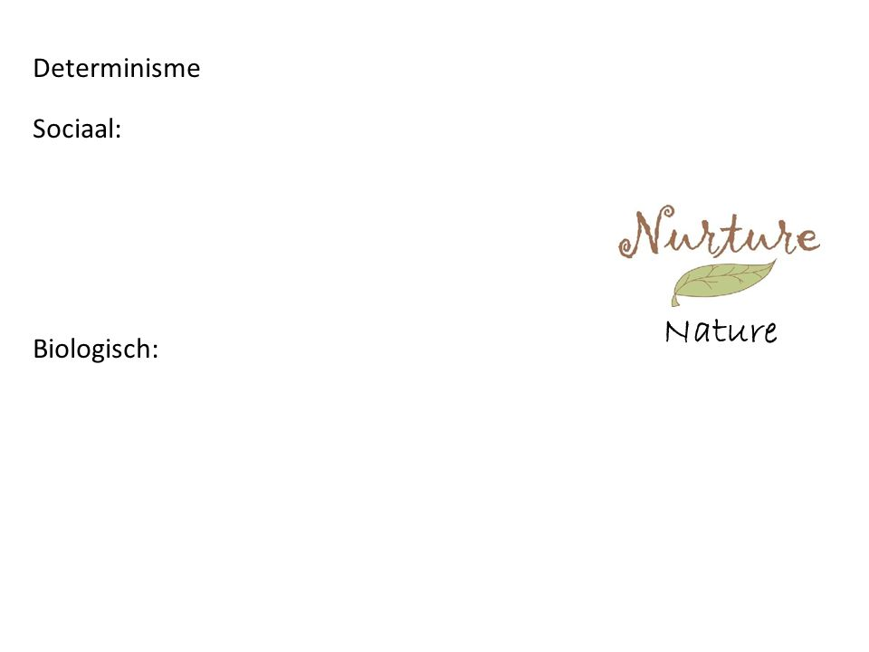 Nature Determinisme Sociaal: Biologisch: