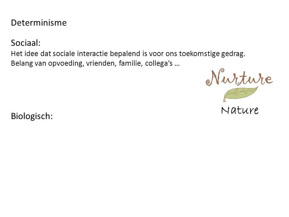 Nature Determinisme Sociaal: Het idee dat sociale interactie bepalend is voor ons toekomstige gedrag.