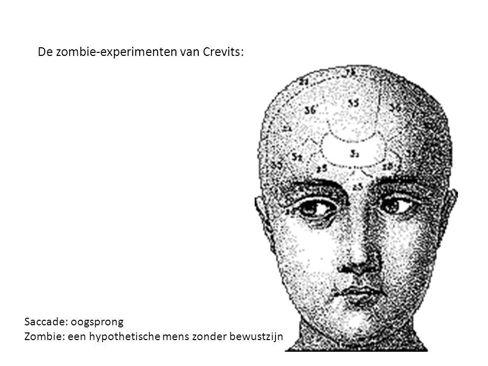 De zombie-experimenten van Crevits: Saccade: oogsprong Zombie: een hypothetische mens zonder bewustzijn