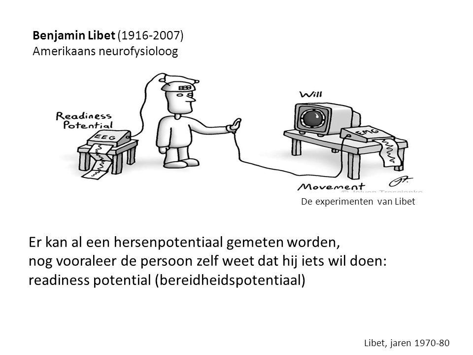 Er kan al een hersenpotentiaal gemeten worden, nog vooraleer de persoon zelf weet dat hij iets wil doen: readiness potential (bereidheidspotentiaal) De experimenten van Libet Libet, jaren 1970-80 Benjamin Libet (1916-2007) Amerikaans neurofysioloog