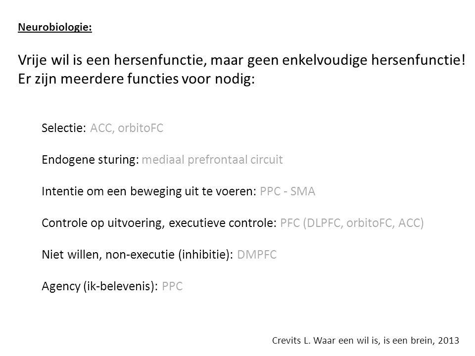 Neurobiologie: Vrije wil is een hersenfunctie, maar geen enkelvoudige hersenfunctie.