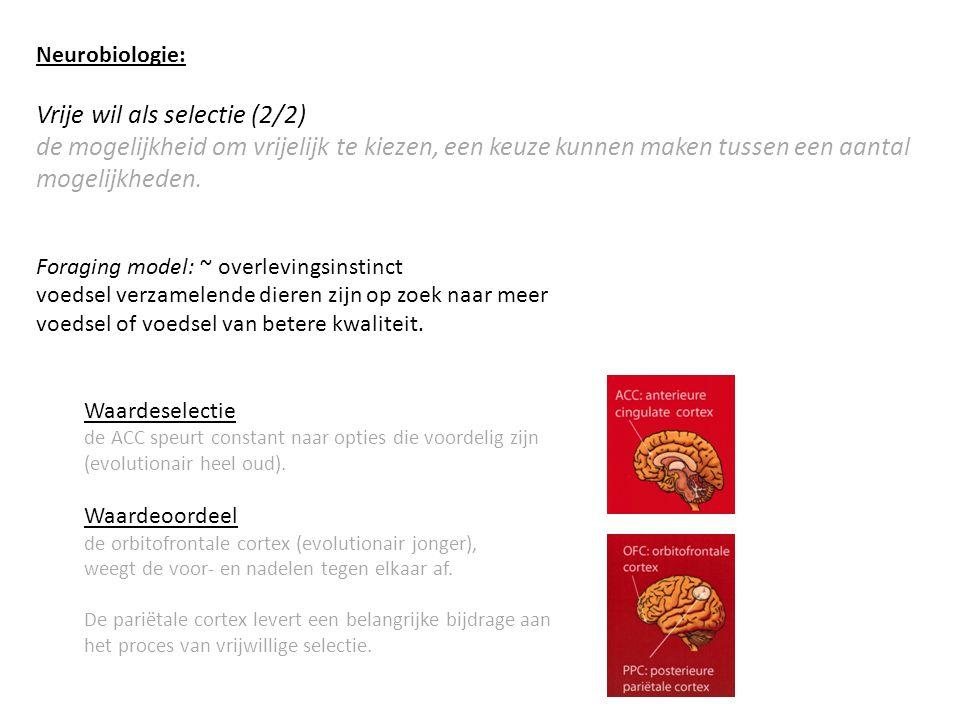 Neurobiologie: Vrije wil als selectie (2/2) de mogelijkheid om vrijelijk te kiezen, een keuze kunnen maken tussen een aantal mogelijkheden.