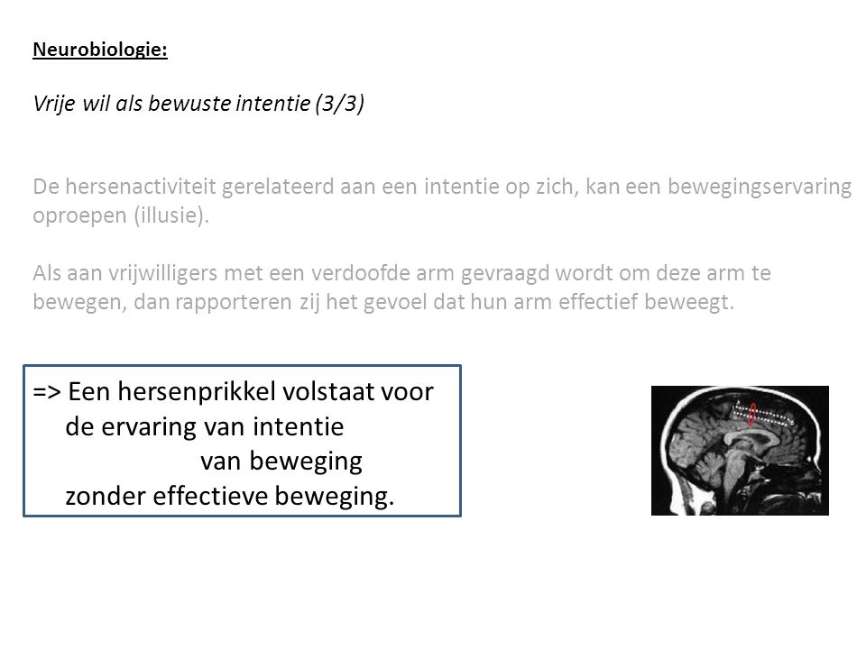 Neurobiologie: Vrije wil als bewuste intentie (3/3) De hersenactiviteit gerelateerd aan een intentie op zich, kan een bewegingservaring oproepen (illusie).