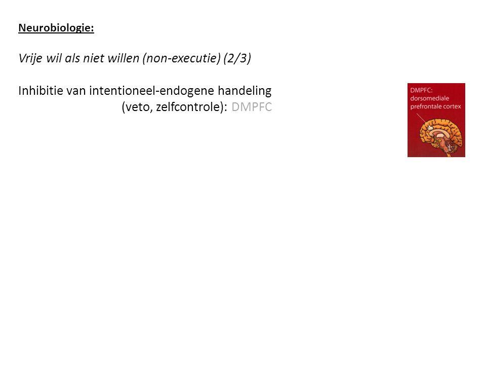 Neurobiologie: Vrije wil als niet willen (non-executie) (2/3) Inhibitie van intentioneel-endogene handeling (veto, zelfcontrole): DMPFC