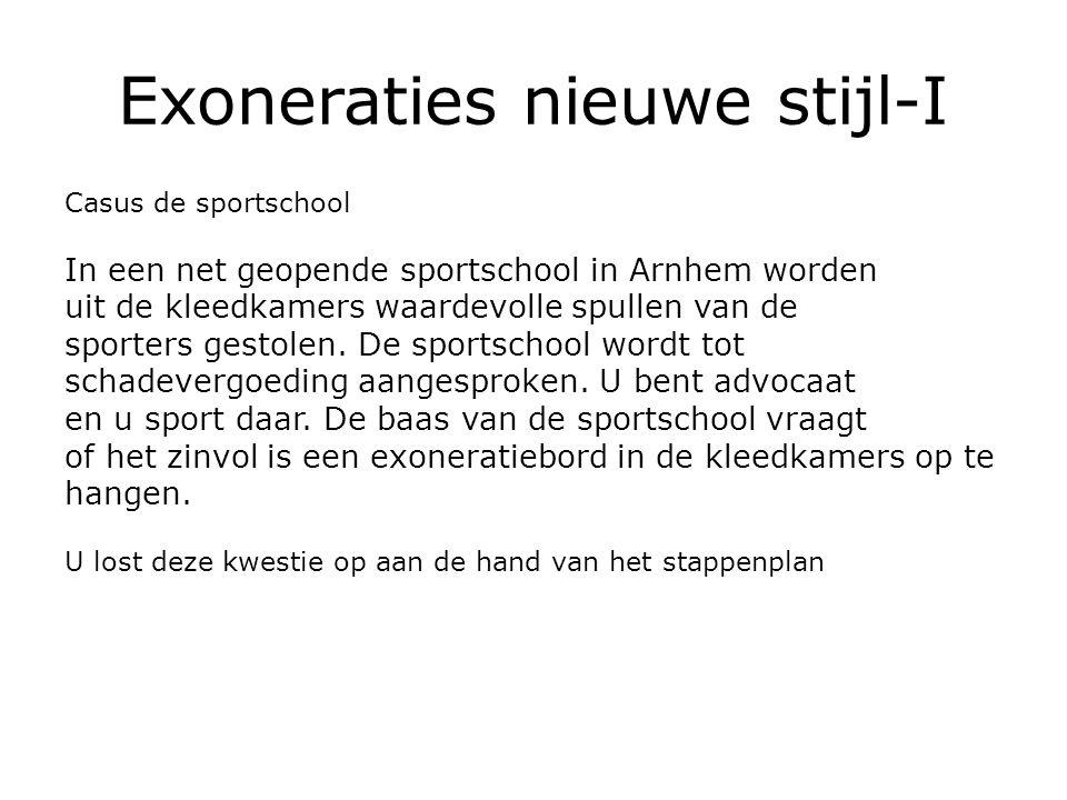 Exoneraties nieuwe stijl-I Casus de sportschool In een net geopende sportschool in Arnhem worden uit de kleedkamers waardevolle spullen van de sporters gestolen.