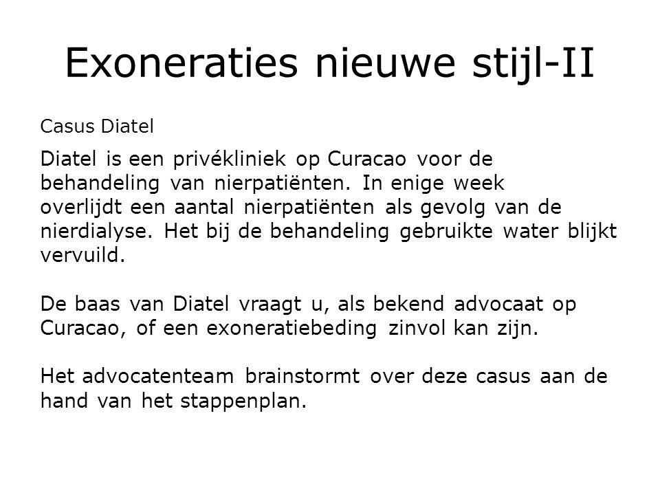 Exoneraties nieuwe stijl-II Casus Diatel Diatel is een privékliniek op Curacao voor de behandeling van nierpatiënten.