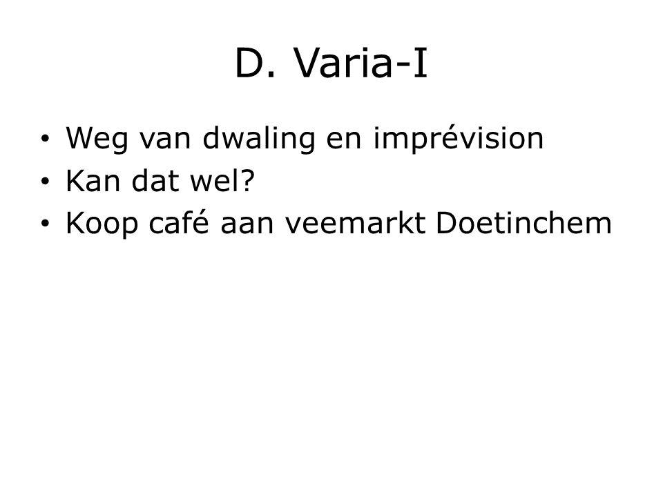 D. Varia-I Weg van dwaling en imprévision Kan dat wel Koop café aan veemarkt Doetinchem