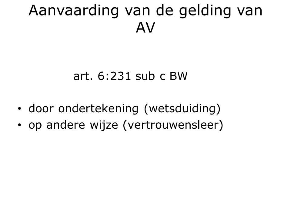 Aanvaarding van de gelding van AV art.