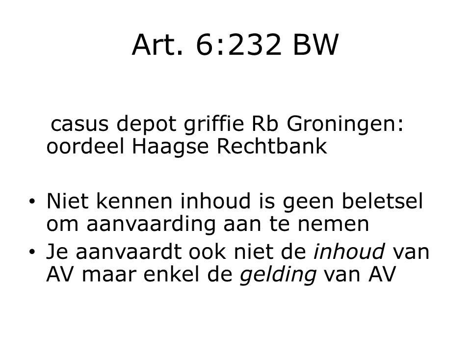 Art. 6:232 BW casus depot griffie Rb Groningen: oordeel Haagse Rechtbank Niet kennen inhoud is geen beletsel om aanvaarding aan te nemen Je aanvaardt