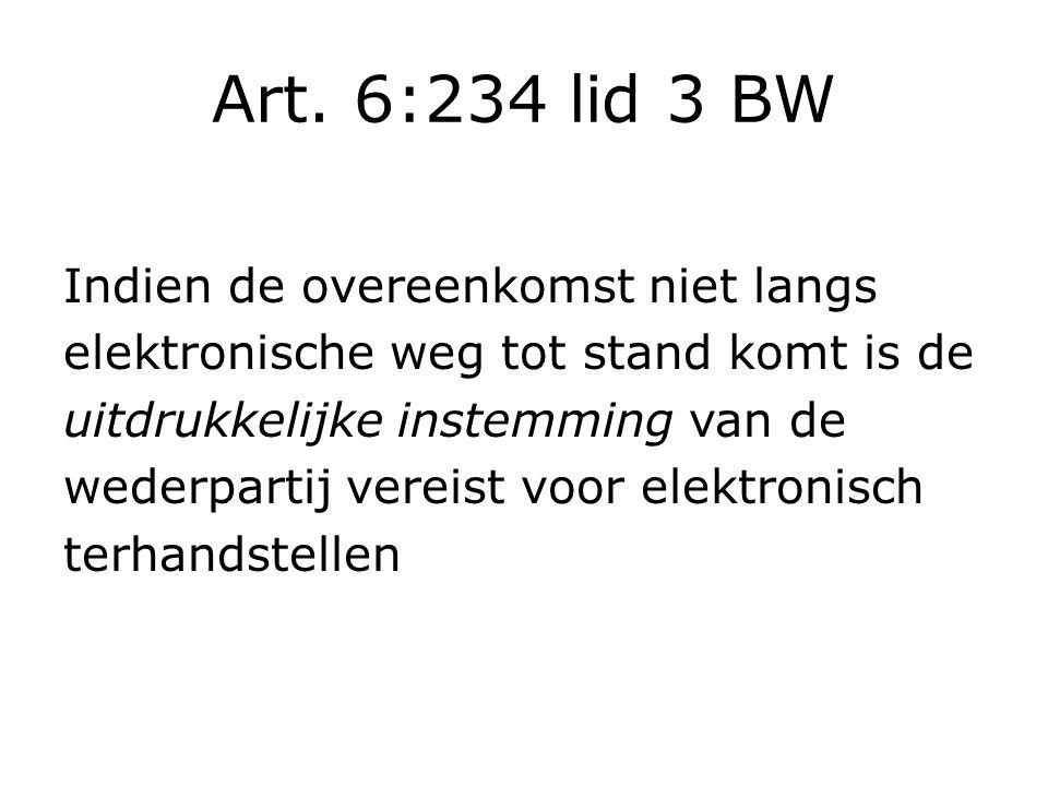 Art. 6:234 lid 3 BW Indien de overeenkomst niet langs elektronische weg tot stand komt is de uitdrukkelijke instemming van de wederpartij vereist voor