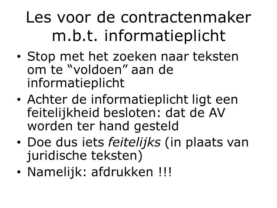 Les voor de contractenmaker m.b.t.