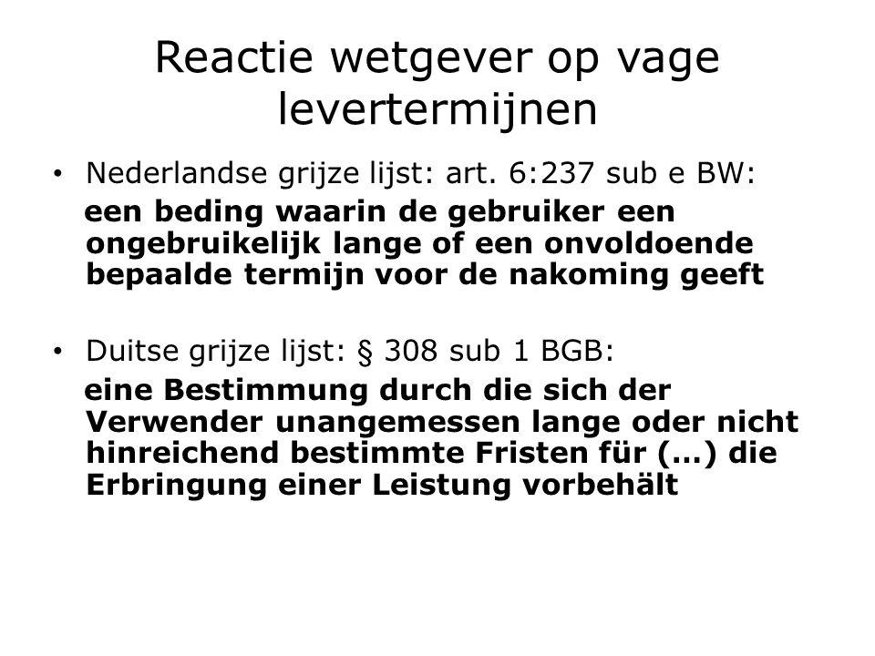 Reactie wetgever op vage levertermijnen Nederlandse grijze lijst: art.