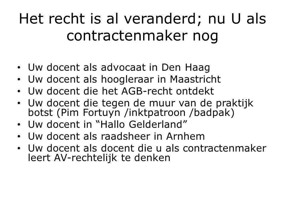 Het recht is al veranderd; nu U als contractenmaker nog Uw docent als advocaat in Den Haag Uw docent als hoogleraar in Maastricht Uw docent die het AGB-recht ontdekt Uw docent die tegen de muur van de praktijk botst (Pim Fortuyn /inktpatroon /badpak) Uw docent in Hallo Gelderland Uw docent als raadsheer in Arnhem Uw docent als docent die u als contractenmaker leert AV-rechtelijk te denken