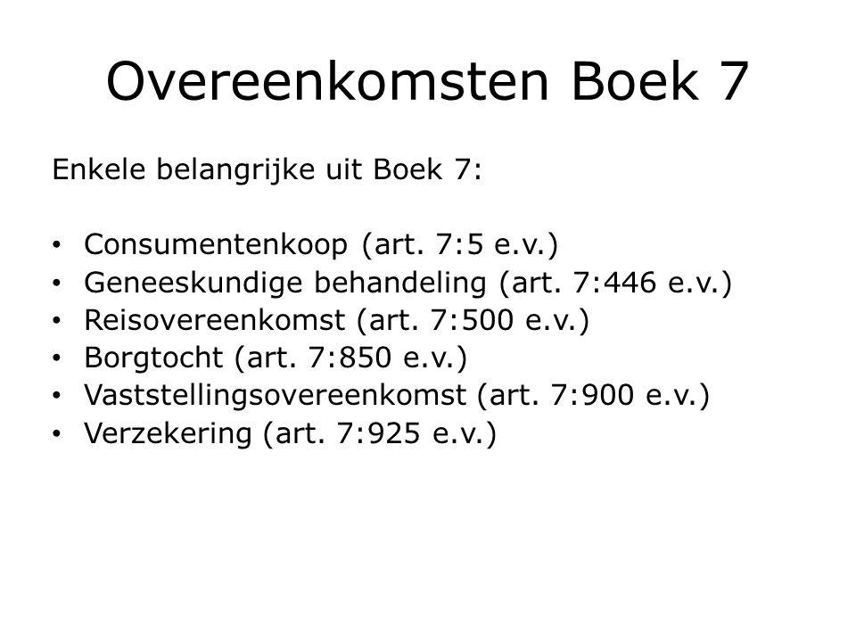 Overeenkomsten Boek 7 Enkele belangrijke uit Boek 7: Consumentenkoop (art.