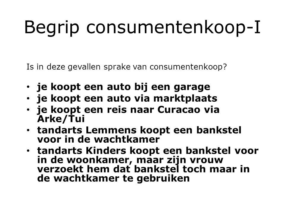 Begrip consumentenkoop-I Is in deze gevallen sprake van consumentenkoop.