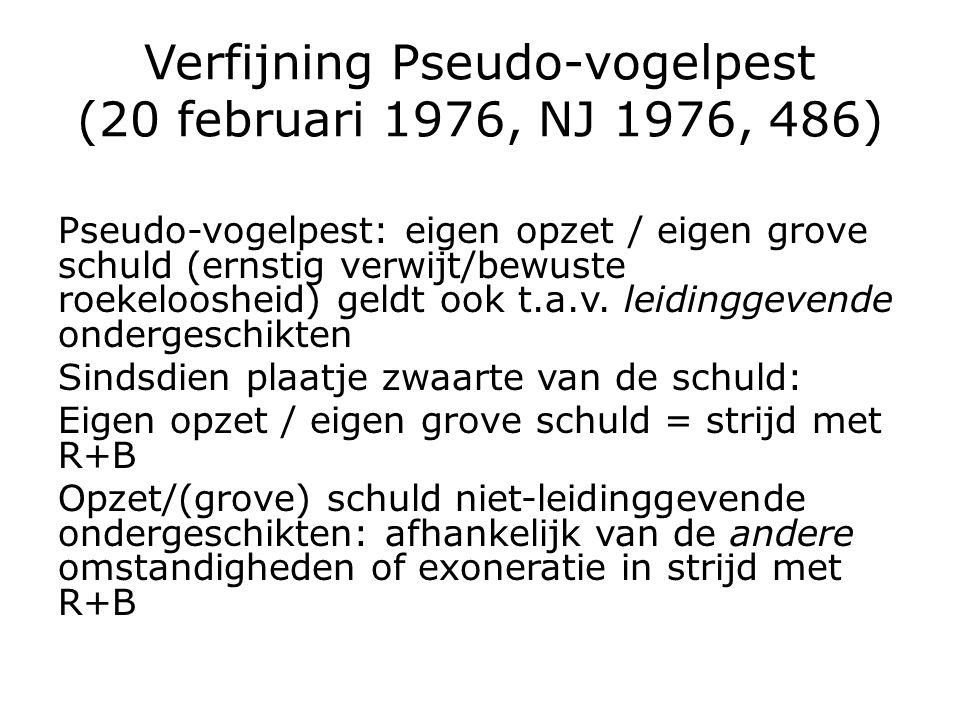 Verfijning Pseudo-vogelpest (20 februari 1976, NJ 1976, 486) Pseudo-vogelpest: eigen opzet / eigen grove schuld (ernstig verwijt/bewuste roekeloosheid) geldt ook t.a.v.