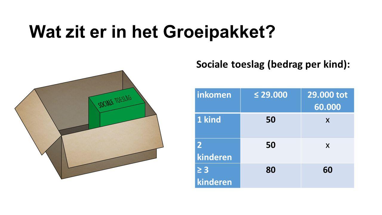 Wat zit er in het Groeipakket? Sociale toeslag (bedrag per kind): inkomen≤ 29.000 29.000 tot 60.000 1 kind50x 2 kinderen 50x ≥ 3 kinderen 8060