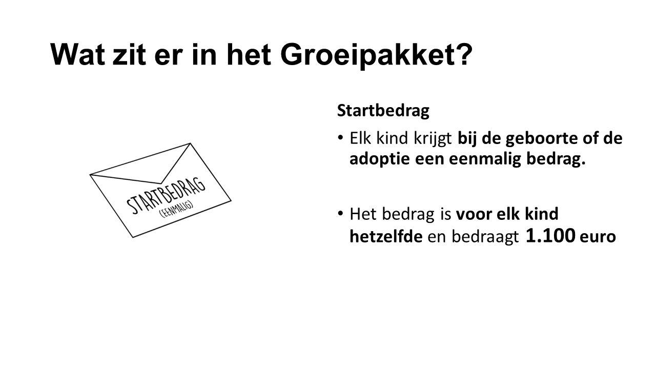 Wat zit er in het Groeipakket? Basisbedrag 160 euro Vast maandelijks bedrag Voor elk kind