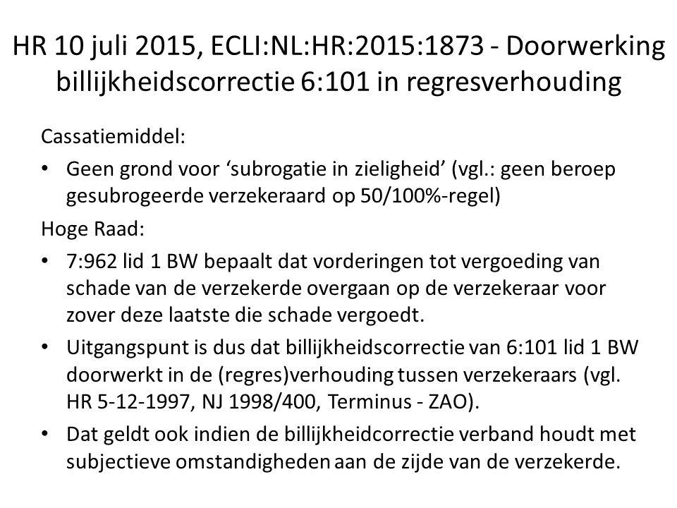 HR 10 juli 2015, ECLI:NL:HR:2015:1873 - Doorwerking billijkheidscorrectie 6:101 in regresverhouding Cassatiemiddel: Geen grond voor 'subrogatie in zieligheid' (vgl.: geen beroep gesubrogeerde verzekeraard op 50/100%-regel) Hoge Raad: 7:962 lid 1 BW bepaalt dat vorderingen tot vergoeding van schade van de verzekerde overgaan op de verzekeraar voor zover deze laatste die schade vergoedt.