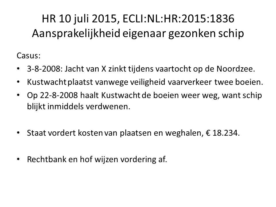 HR 10 juli 2015, ECLI:NL:HR:2015:1836 Aansprakelijkheid eigenaar gezonken schip Casus: 3-8-2008: Jacht van X zinkt tijdens vaartocht op de Noordzee.