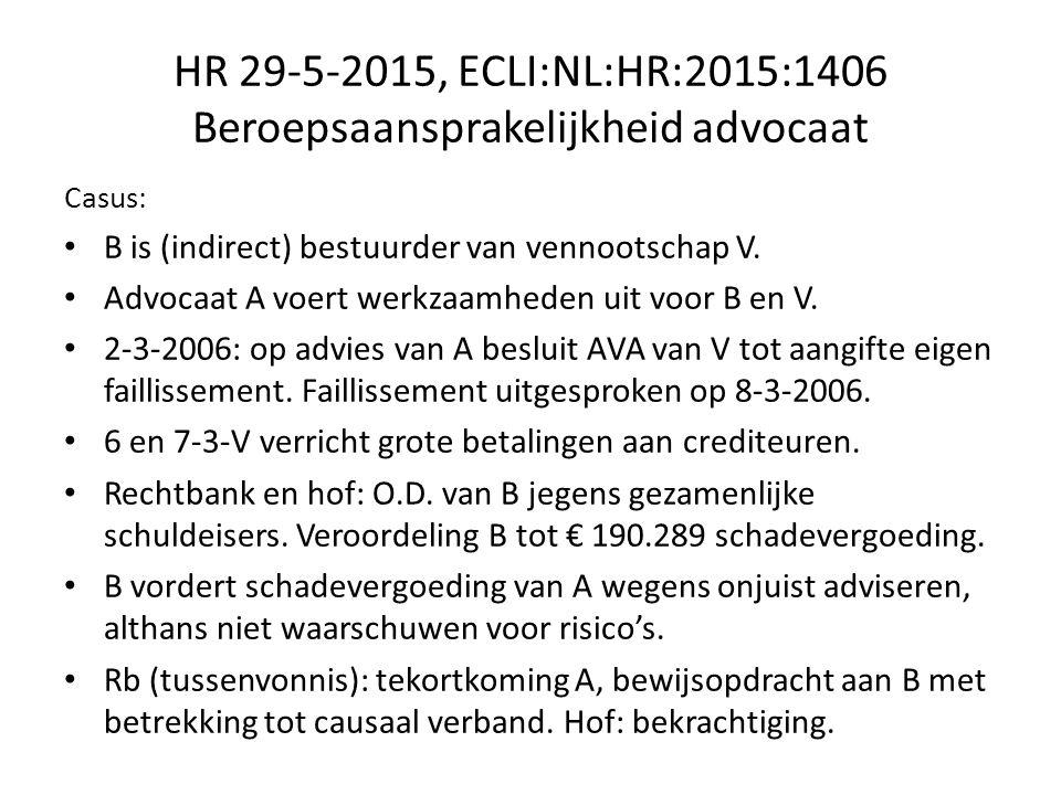 HR 29-5-2015, ECLI:NL:HR:2015:1406 Beroepsaansprakelijkheid advocaat Casus: B is (indirect) bestuurder van vennootschap V.