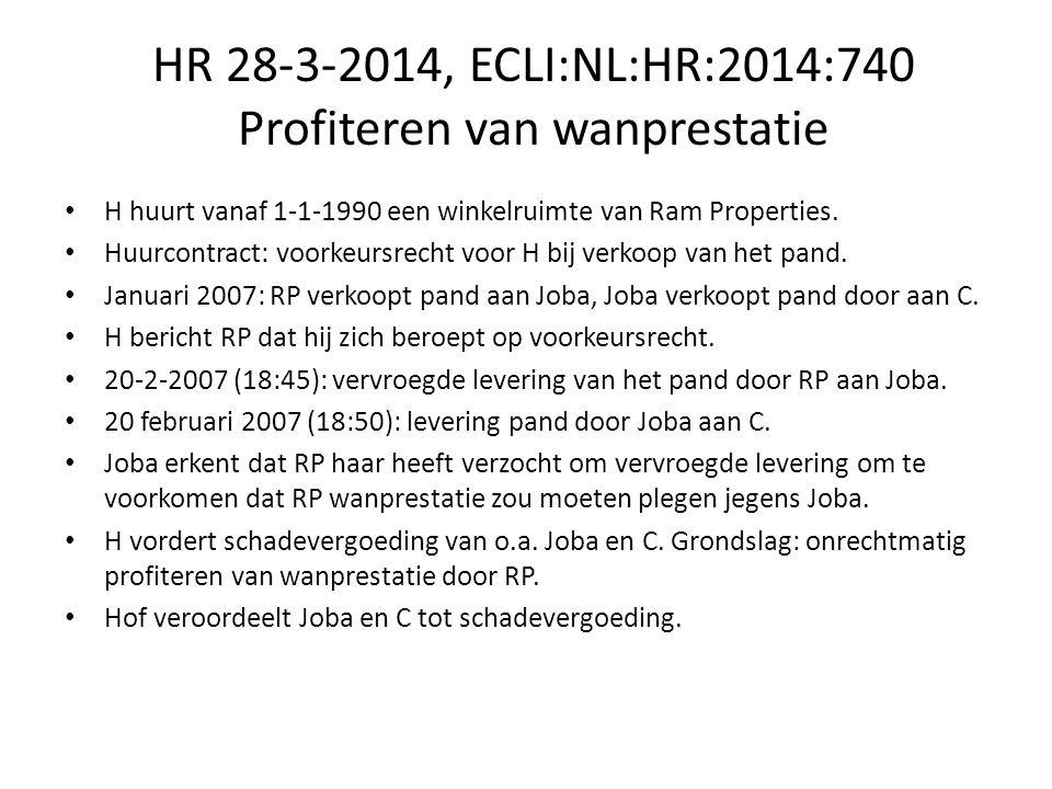 HR 28-3-2014, ECLI:NL:HR:2014:740 Profiteren van wanprestatie Hoge Raad: Joba was ten tijde van de totstandkoming van de koopovereenkomst niet bekend met het voorkeursrecht van H.