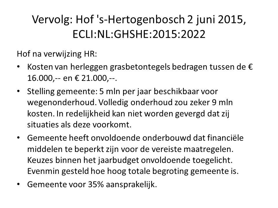 Vervolg: Hof s-Hertogenbosch 2 juni 2015, ECLI:NL:GHSHE:2015:2022 Hof na verwijzing HR: Kosten van herleggen grasbetontegels bedragen tussen de € 16.000,-- en € 21.000,--.