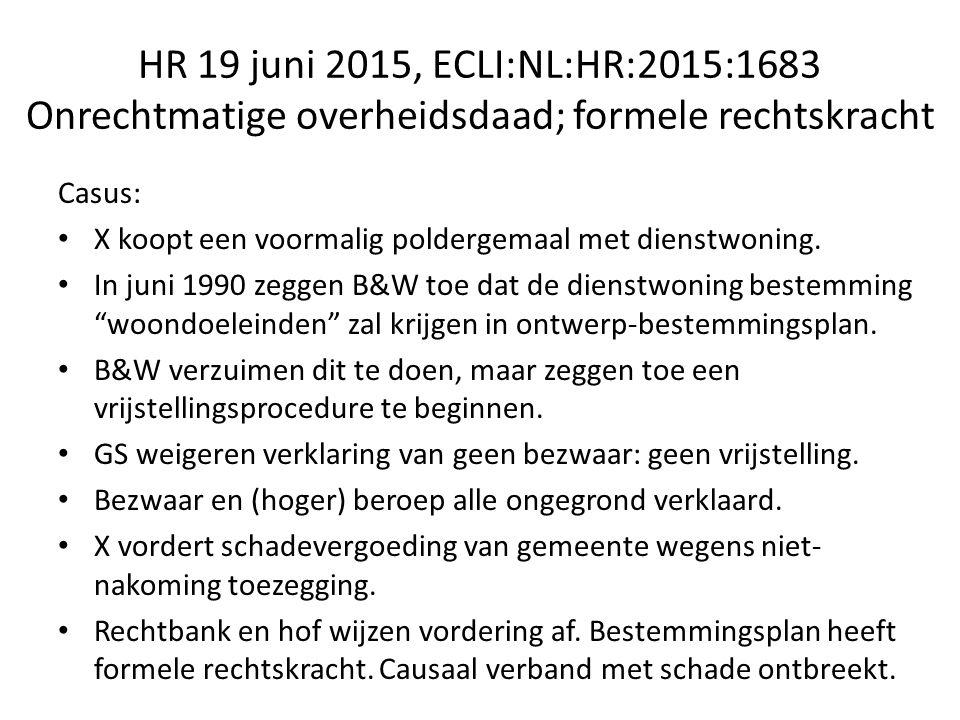 HR 19 juni 2015, ECLI:NL:HR:2015:1683 Onrechtmatige overheidsdaad; formele rechtskracht Casus: X koopt een voormalig poldergemaal met dienstwoning.