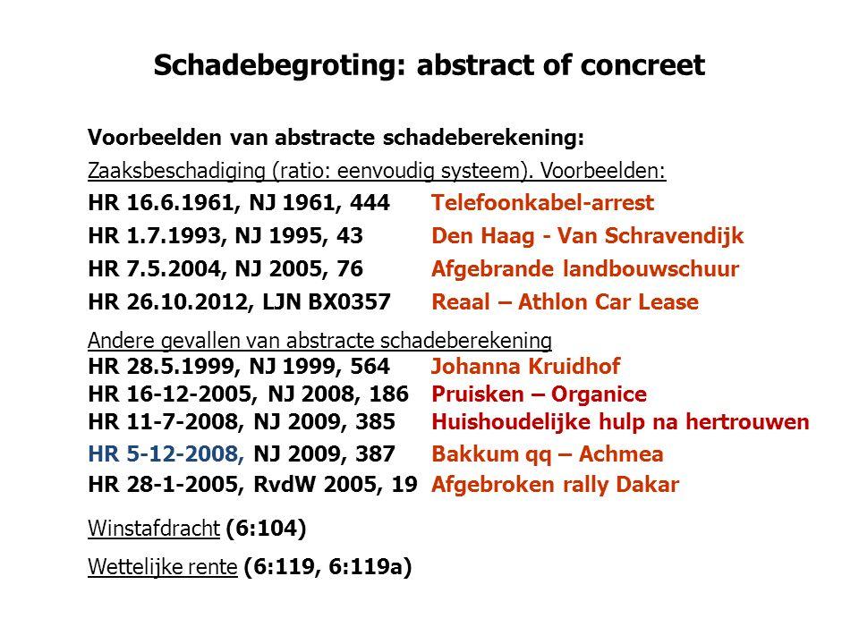Schadebegroting: abstract of concreet Voorbeelden van abstracte schadeberekening: Zaaksbeschadiging (ratio: eenvoudig systeem).