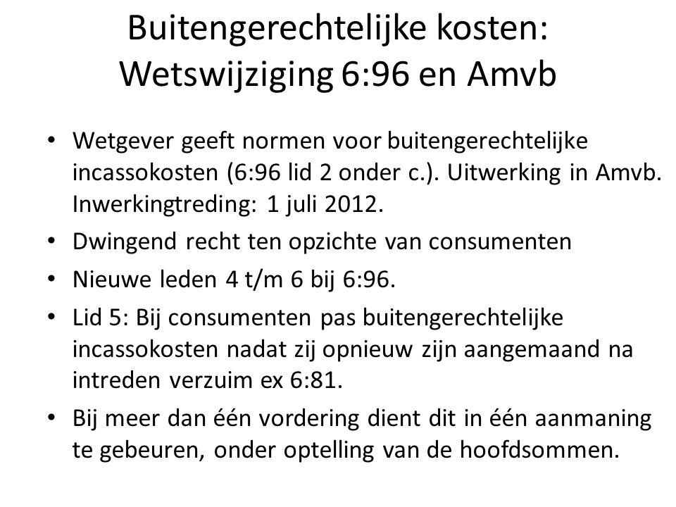Buitengerechtelijke kosten: Wetswijziging 6:96 en Amvb Wetgever geeft normen voor buitengerechtelijke incassokosten (6:96 lid 2 onder c.).
