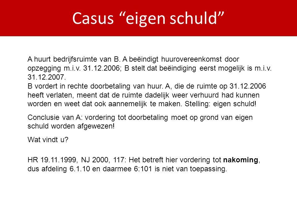 Casus eigen schuld A huurt bedrijfsruimte van B.