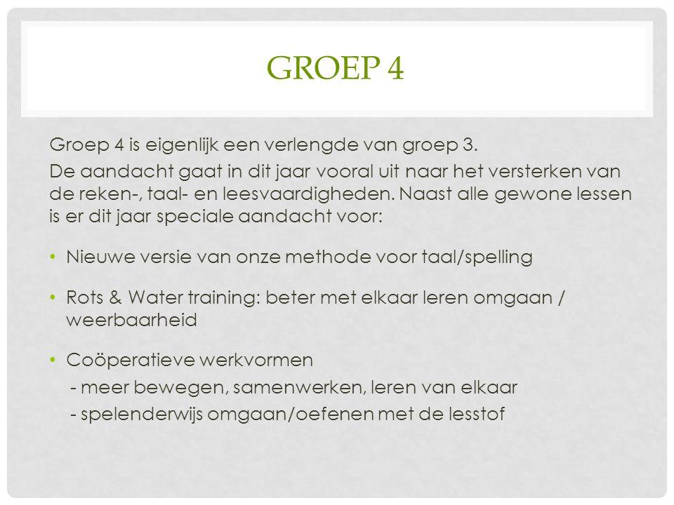 GROEP 4 Groep 4 is eigenlijk een verlengde van groep 3.