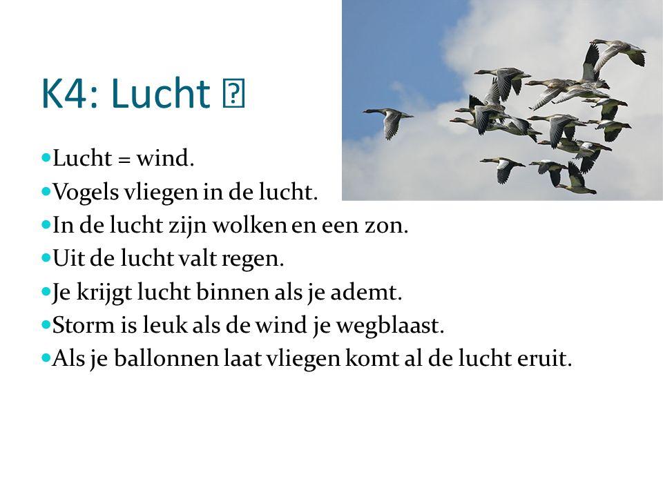 K4: Lucht Lucht = wind. Vogels vliegen in de lucht.