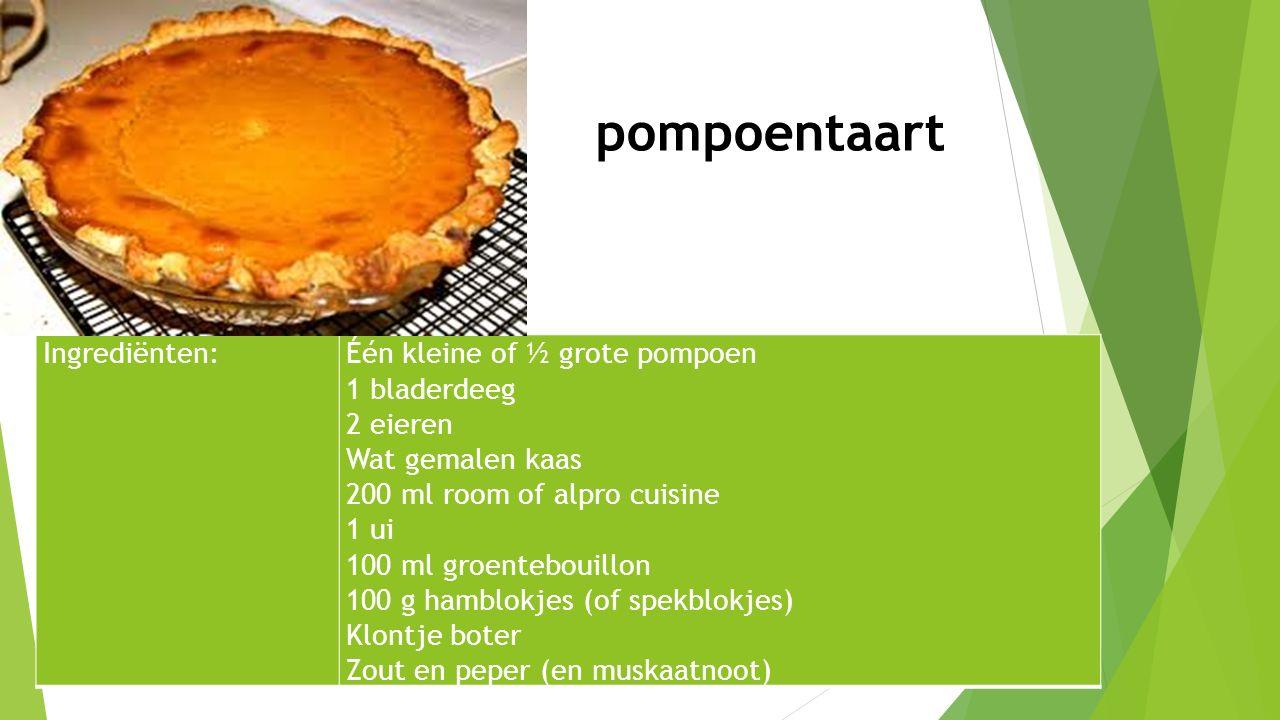 Ingrediënten:Één kleine of ½ grote pompoen 1 bladerdeeg 2 eieren Wat gemalen kaas 200 ml room of alpro cuisine 1 ui 100 ml groentebouillon 100 g hambl