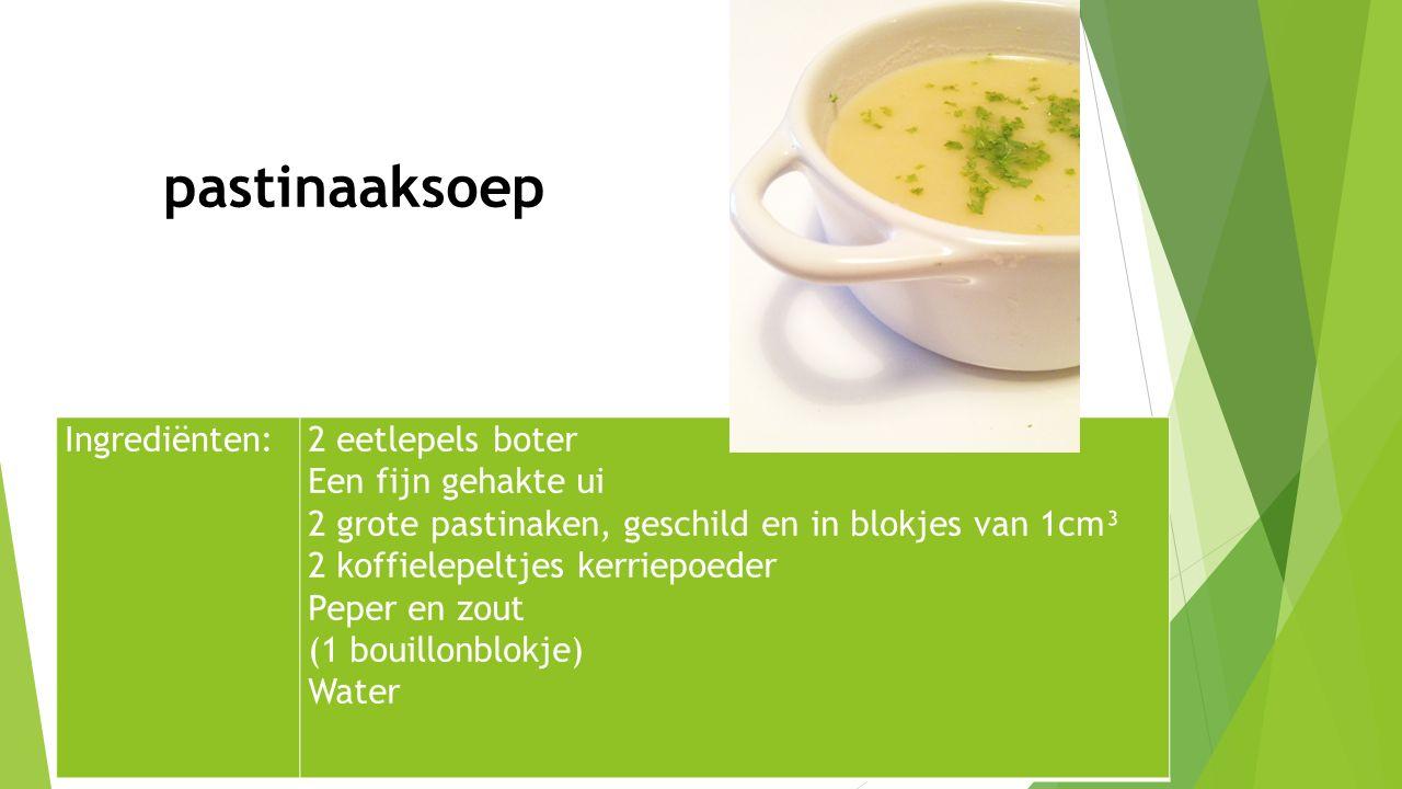 Ingrediënten:2 eetlepels boter Een fijn gehakte ui 2 grote pastinaken, geschild en in blokjes van 1cm³ 2 koffielepeltjes kerriepoeder Peper en zout (1