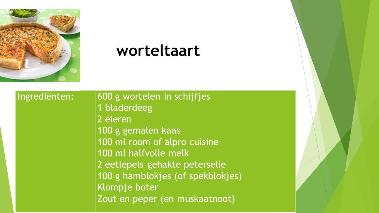 Ingrediënten:600 g wortelen in schijfjes 1 bladerdeeg 2 eieren 100 g gemalen kaas 100 ml room of alpro cuisine 100 ml halfvolle melk 2 eetlepels gehak