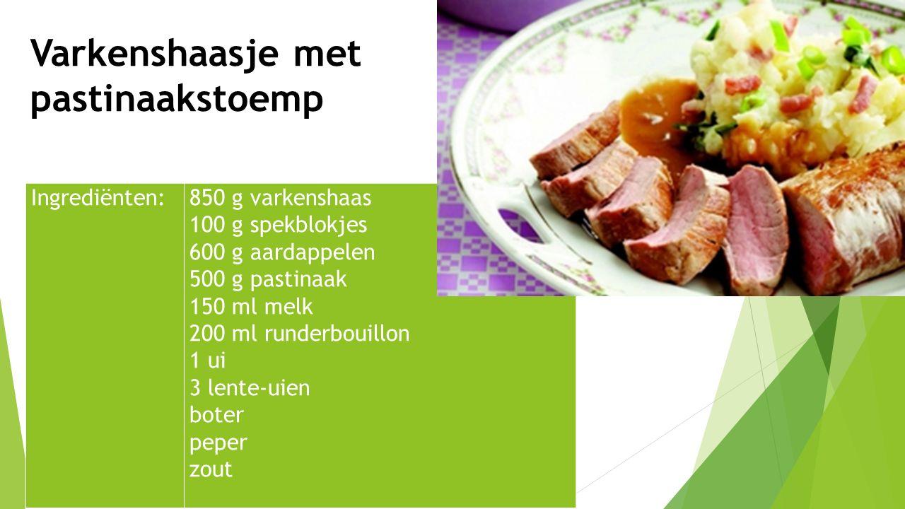 Ingrediënten:850 g varkenshaas 100 g spekblokjes 600 g aardappelen 500 g pastinaak 150 ml melk 200 ml runderbouillon 1 ui 3 lente-uien boter peper zou