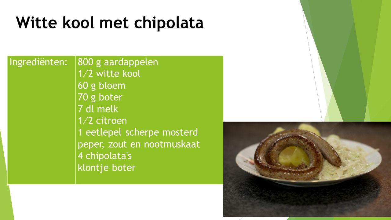 Ingrediënten:800 g aardappelen 1⁄2 witte kool 60 g bloem 70 g boter 7 dl melk 1⁄2 citroen 1 eetlepel scherpe mosterd peper, zout en nootmuskaat 4 chip