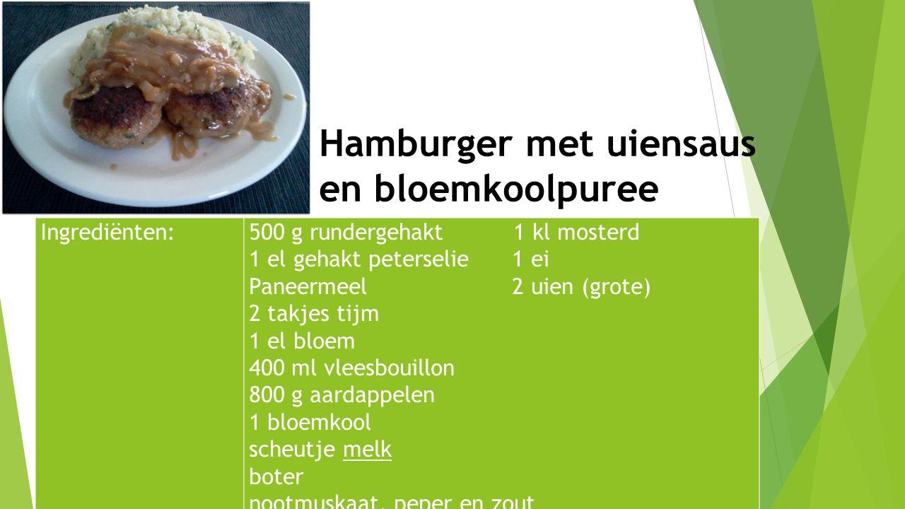 Ingrediënten:500 g rundergehakt 1 kl mosterd 1 el gehakt peterselie 1 ei Paneermeel 2 uien (grote) 2 takjes tijm 1 el bloem 400 ml vleesbouillon 800 g
