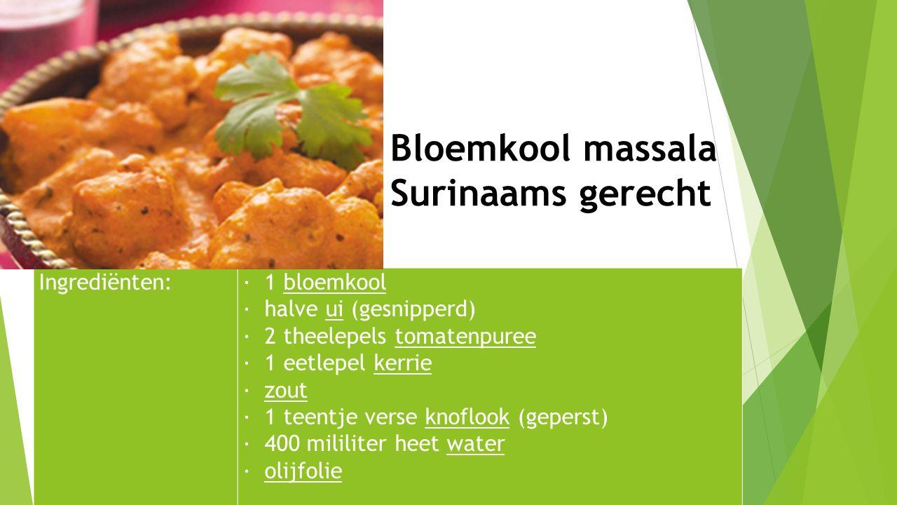 Ingrediënten:· 1 bloemkool · halve ui (gesnipperd) · 2 theelepels tomatenpuree · 1 eetlepel kerrie · zout · 1 teentje verse knoflook (geperst) · 400 m