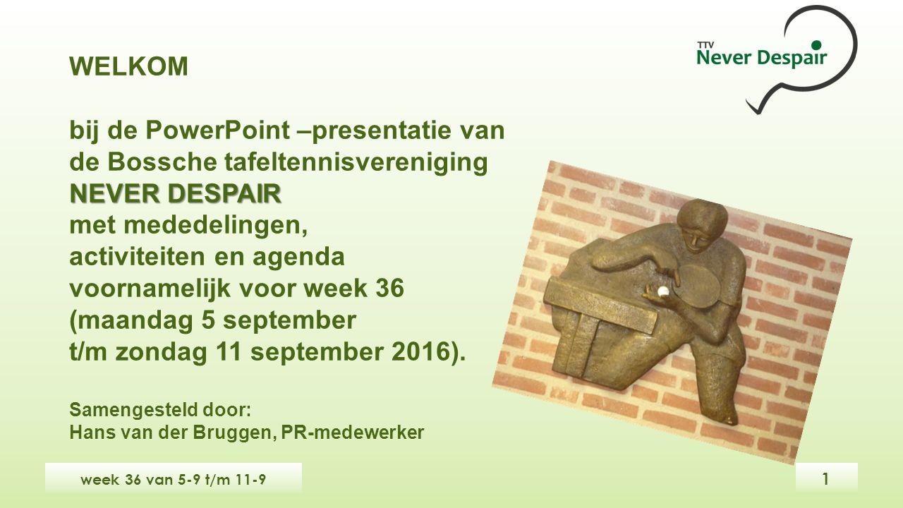 WELKOM bij de PowerPoint –presentatie van de Bossche tafeltennisvereniging NEVER DESPAIR met mededelingen, activiteiten en agenda voornamelijk voor week 36 (maandag 5 september t/m zondag 11 september 2016).