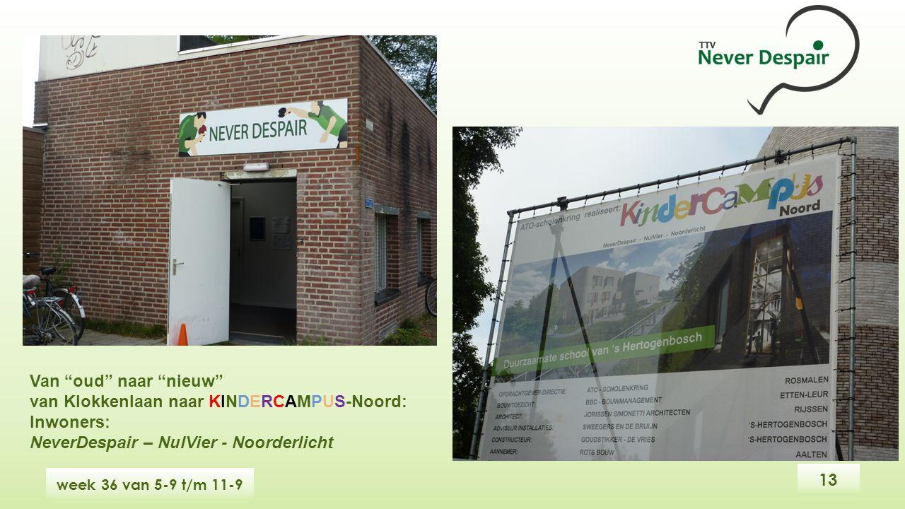 13 week 36 van 5-9 t/m 11-9 Van oud naar nieuw van Klokkenlaan naar KINDERCAMPUS-Noord: Inwoners: NeverDespair – NulVier - Noorderlicht