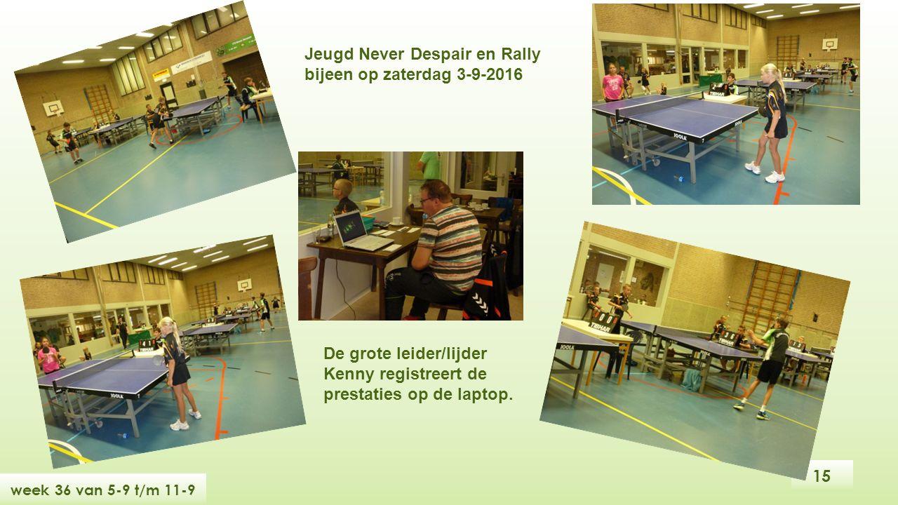 15 week 36 van 5-9 t/m 11-9 Jeugd Never Despair en Rally bijeen op zaterdag 3-9-2016 De grote leider/lijder Kenny registreert de prestaties op de laptop.