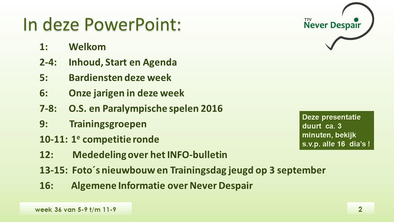 In deze PowerPoint: week 36 van 5-9 t/m 11-9 1: Welkom 2-4: Inhoud, Start en Agenda 5:Bardiensten deze week 6:Onze jarigen in deze week 7-8:O.S.