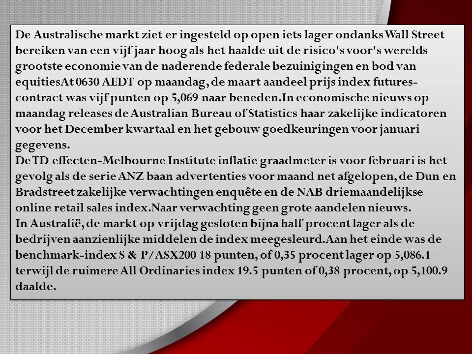 De Australische markt ziet er ingesteld op open iets lager ondanks Wall Street bereiken van een vijf jaar hoog als het haalde uit de risico s voor s werelds grootste economie van de naderende federale bezuinigingen en bod van equitiesAt 0630 AEDT op maandag, de maart aandeel prijs index futures- contract was vijf punten op 5,069 naar beneden.In economische nieuws op maandag releases de Australian Bureau of Statistics haar zakelijke indicatoren voor het December kwartaal en het gebouw goedkeuringen voor januari gegevens.