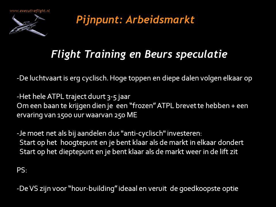 www.executiveflight.nl Pijnpunt: Arbeidsmarkt Flight Training en Beurs speculatie -De luchtvaart is erg cyclisch. Hoge toppen en diepe dalen volgen el