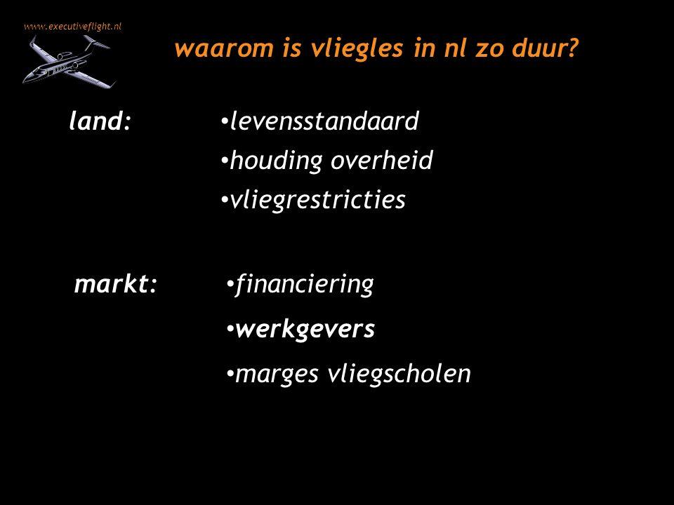 www.executiveflight.nl werkgevers waarom is vliegles in nl zo duur? marges vliegscholen houding overheid financiering levensstandaard vliegrestricties