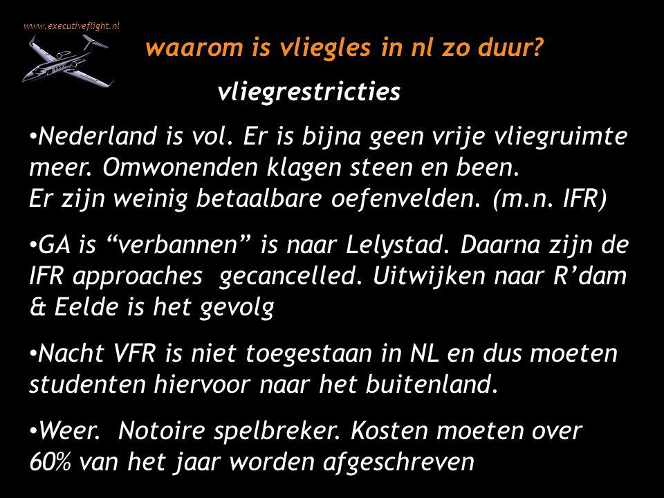 www.executiveflight.nl waarom is vliegles in nl zo duur? Nederland is vol. Er is bijna geen vrije vliegruimte meer. Omwonenden klagen steen en been. E