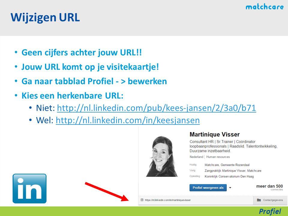 Wijzigen URL Geen cijfers achter jouw URL!. Jouw URL komt op je visitekaartje.