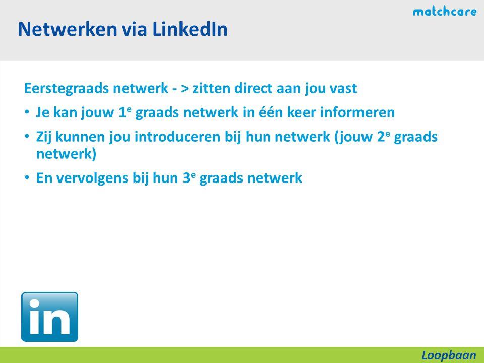 Netwerken via LinkedIn Eerstegraads netwerk - > zitten direct aan jou vast Je kan jouw 1 e graads netwerk in één keer informeren Zij kunnen jou introduceren bij hun netwerk (jouw 2 e graads netwerk) En vervolgens bij hun 3 e graads netwerk Loopbaan